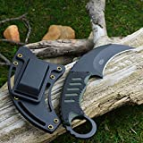 "MTech 7 3/4"" 440 Stainless Black G-10 Tactical Karambit Neck Knife MT-665BG"