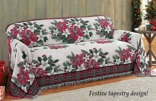 Poinsettia Tapestry Holiday Furniture Cover, Sofa, Christmas