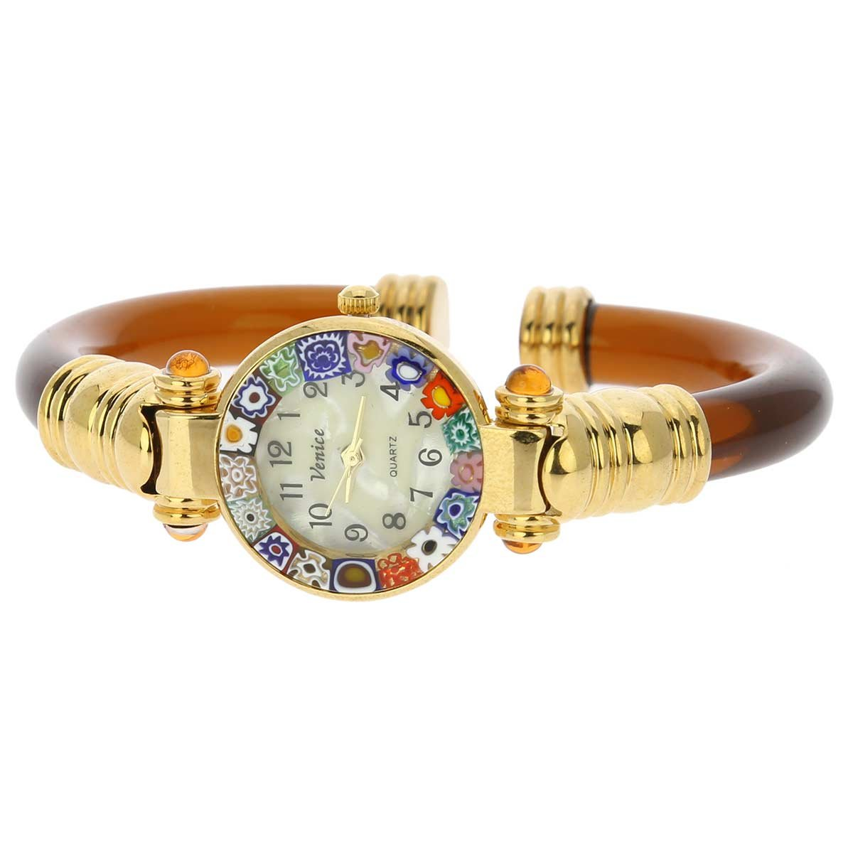 Murano Glass Millefiori Bangle Watch - Amber