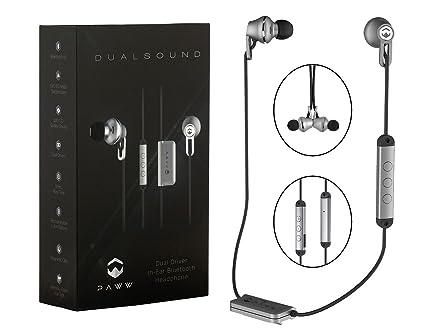 Paww Auriculares inalámbricos con conexión Bluetooth 4.1 - Dual de Sonido Plata