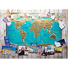 """Large Colorfull Scratch World map """"MyMap"""" Unique Wedding Gift, anniversary celebration gift, Travel pin Map- Make your travel history!"""
