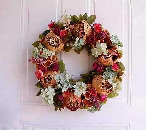 Home, Furniture & DIY Home Decor 16inch Artificial Flower Wreath Peony Wreath  Door Wreath Spring Wreath