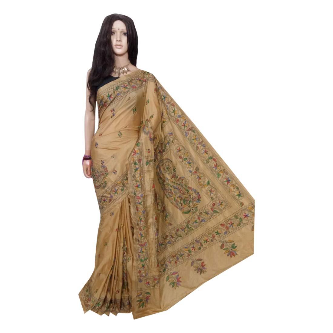 Kantha Stitch Art Silk Handmade Saree with Heavy wokr on Pallu Sari Blouse Indian from West Bengal 143a