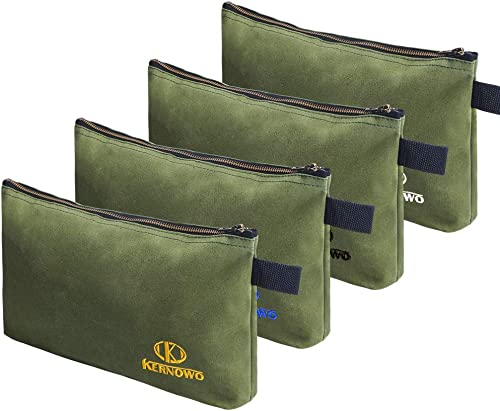 4 Pack Upgrade Zipper Canvas Tool Pouch, 20 oz Heavy Duty Tool Bag, Water Resistant Utility tools Organizer, 12.75 X 8 X 2.25 inch Spacious Storage Pouches with Dependable Brass Zippers by KERNOWO