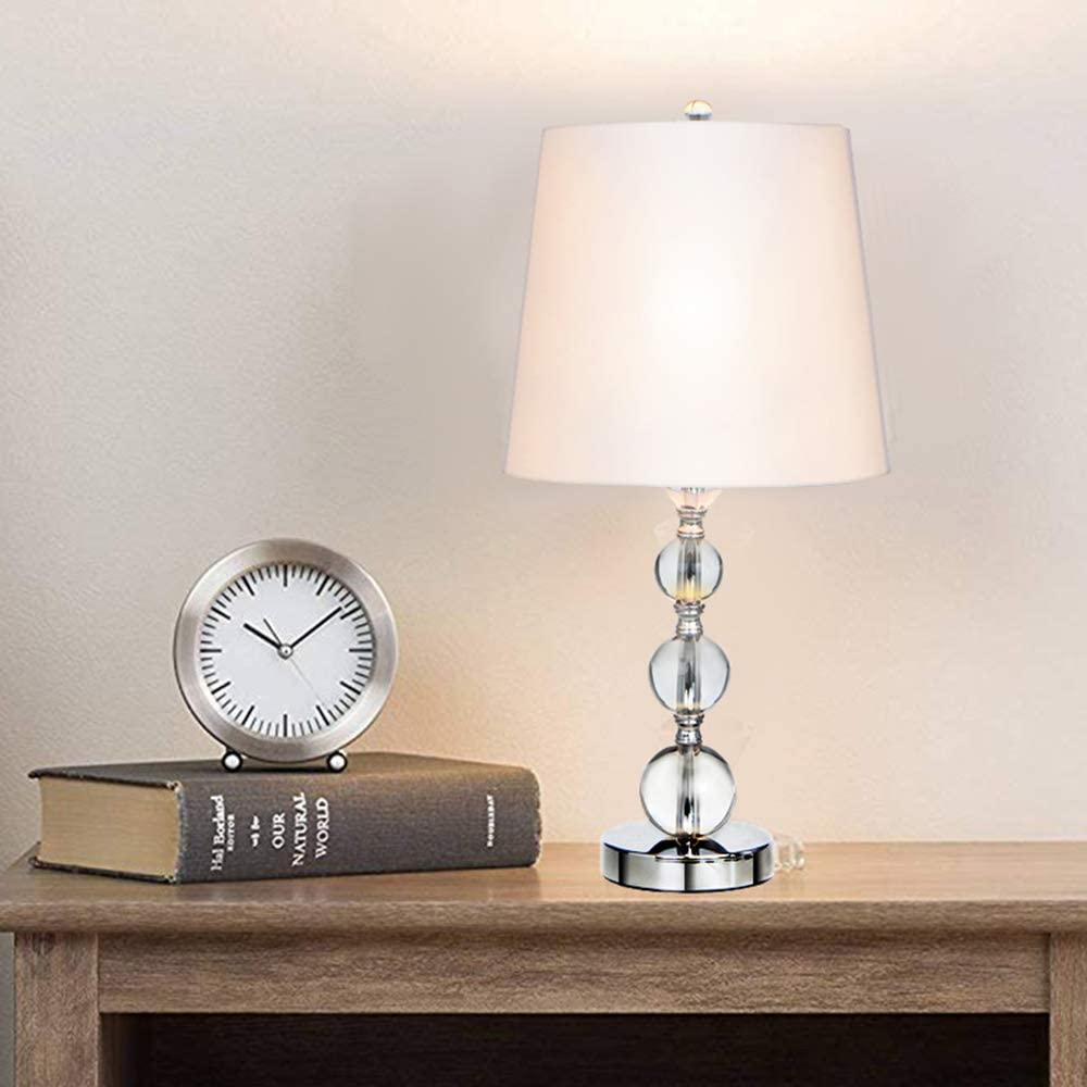 Wtape Home Modern Style Chrome Stacked Crystal Ball Living Room Bedside Crystal Table Lamp White Fabric Shade For Bedroom Living Room Coffee Room Crystal Lamp Round Shade Amazon Co Uk Lighting