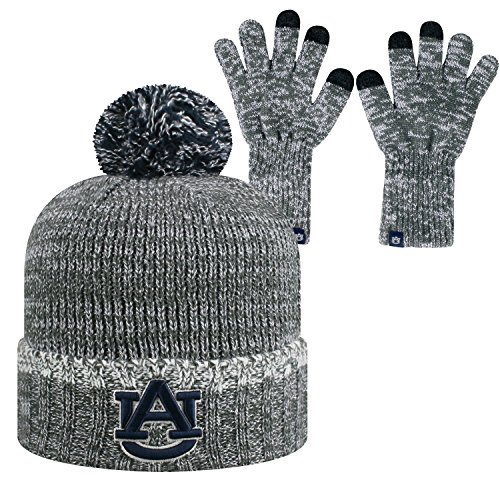 Top of the World Auburn Tigers Official NCAA Combo Frostbite Cuffed Stocking Stretch Knit Sock Hat Cap Beanie and Gloves 559155