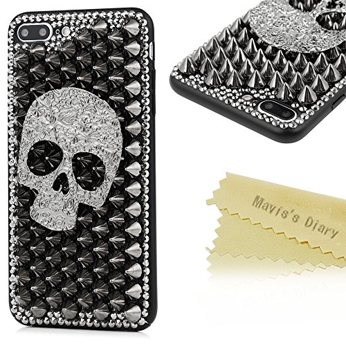 iPhone 7 Plus Case (5.5) – Mavis's Diary Halloween Series 3D Handmade Cool Flower Skull with Silver Rivets Punk Styles Design [Full Edge Protection] …