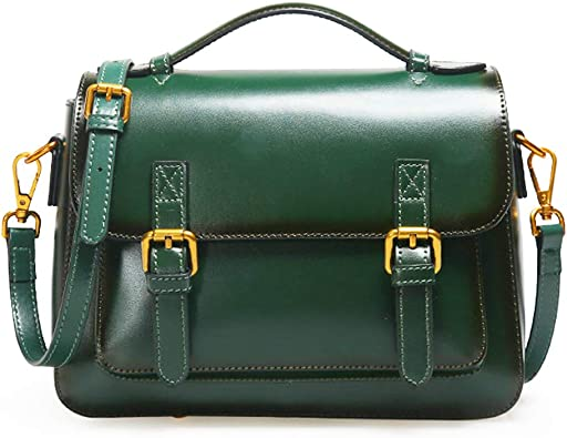 RYRYBH Irregular Handcuffs Ladies Bag High-Grade Leather Handbag Messenger Bag Retro Leather Bag Color : Green, Size : One Size Work//Shopping//Daily//Green Brown Crossbody Bag