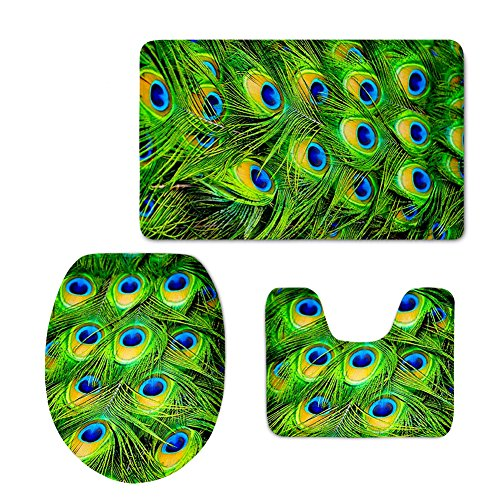HUGSIDEA Green Peacock Bird Tail Feathers Pattern Bathroom Rug Set Includes Bath Mat Contour Rug Toilet Lid Cover