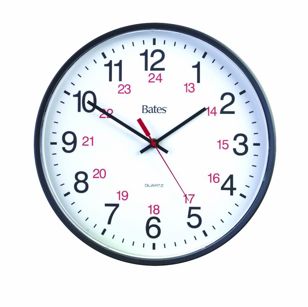 Bates 12-Inch Commercial 12/24 Hour Clock, Requires 1 AA Battery (Not Included), Black (7280347027) ACCO Brands Canada Inc.