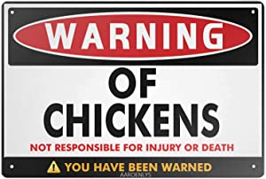 AAROENLYS Retro Sign Tin Sign Beware of Chickens Warning Aluminum Sign Wall Decor Shed Garage Man Cave Kitchen 12 X 8 Inch