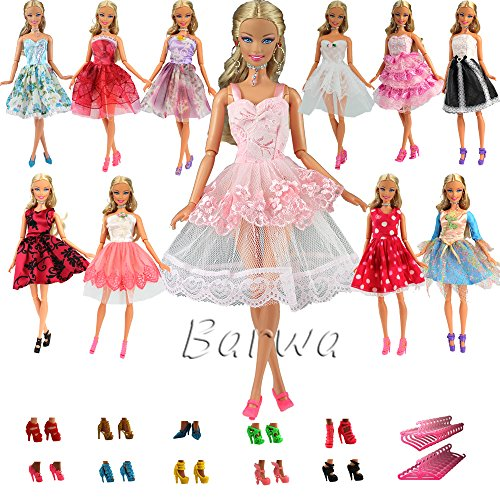 Barwa LOT 15 items = 5 PCS Fashion Mini Short Party Dresses Clothes + 5 Shoes + 5 Hanger for Barbie Doll Gift