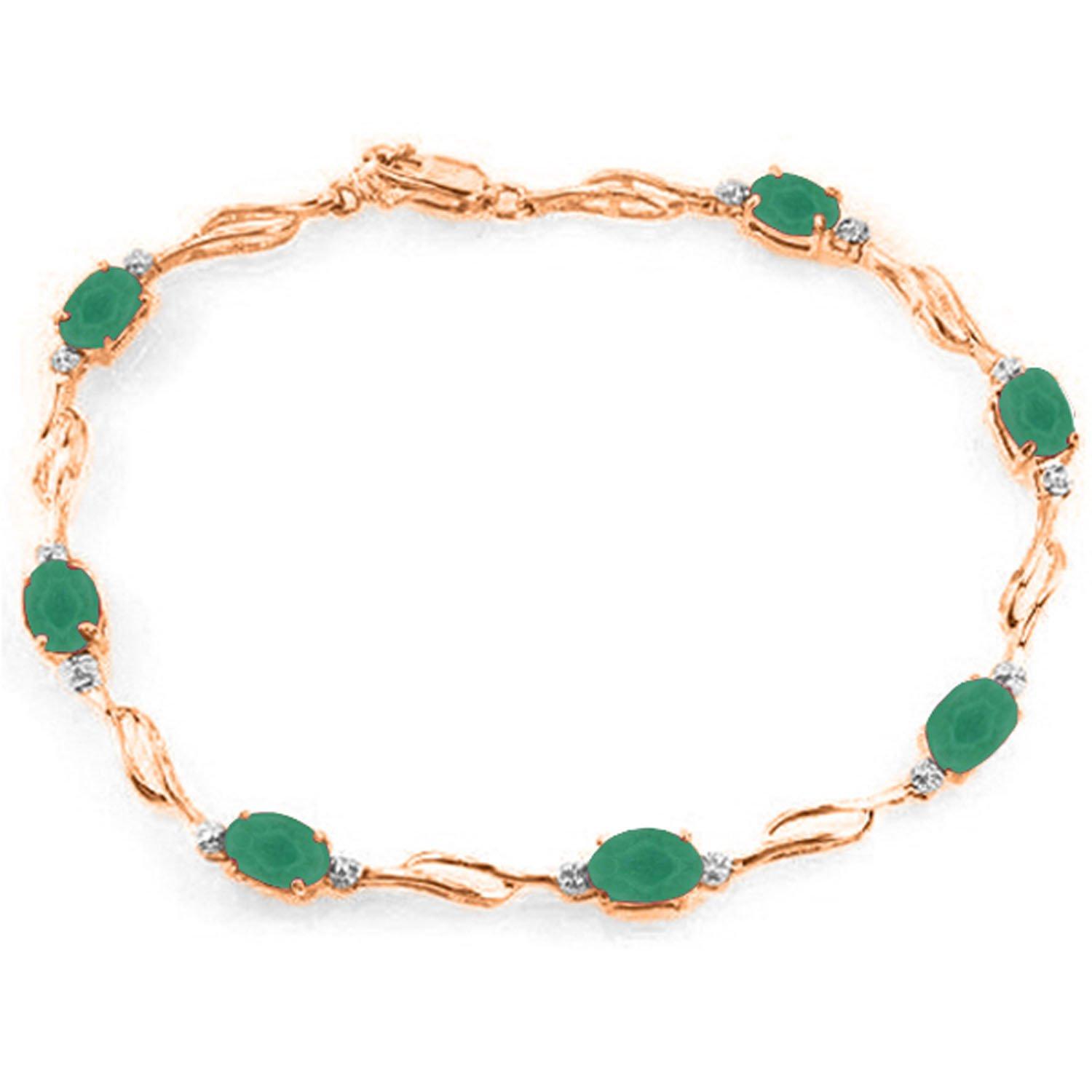 14K Solid Rose Gold Tennis Bracelet with Emeralds & Diamonds