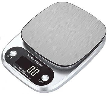 Báscula digital, báscula de alimentos, báscula de cocina, multifunción, báscula para alimentos, escala de gramos, 5 kg, plateada, acero inoxidable: ...