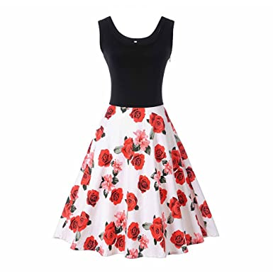 615681afcf2 Ladies  Vintage Patchwork Print Dresses (Red White Rose) at Amazon ...