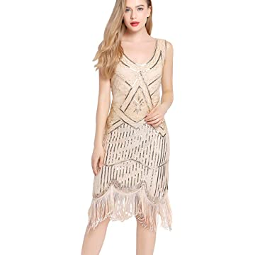 Flapper Dress Gatsby Dresses - 1920s Fringe Dress Roaring 20s Evening Dresses Sequin Bead Dress for Women