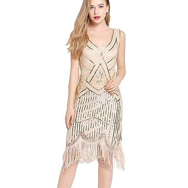 b872bbc8737 Flapper Dress Gatsby Dresses - 1920s Fringe Dress Roaring 20s Evening  Dresses Sequin Bead Dress for