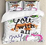 I Love You Queen Size Duvet Cover Set by Ambesonne, I Love You with All My Heart Grunge Sketchy Notebook Style Childish Couples, Decorative 3 Piece Bedding Set with 2 Pillow Shams, Multicolor