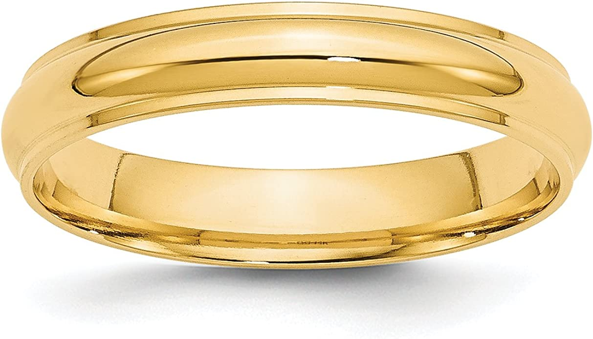 Solid 10k Yellow Gold 4mm Half Round Wedding Band
