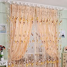1 x 2m Single Piece Tulip Flower Pattern Pierced Tulle Sheer Door Window Curtain Drape for Living Room Partition Wall Decoration Coffee