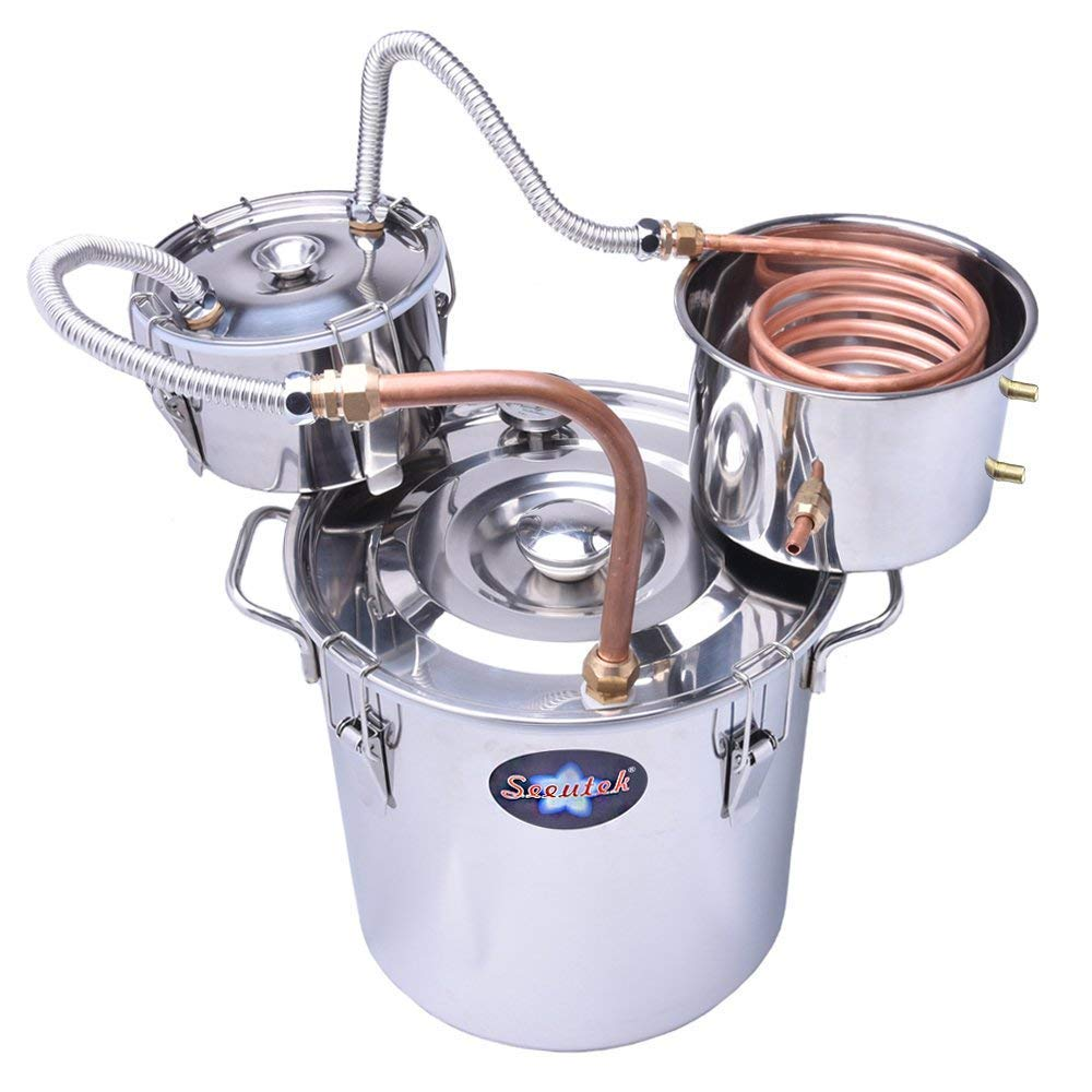 Suteck 3 Gal Moonshine Still Spirits Kit 12L Water Alcohol Distiller Copper Tube Boiler Home Brewing Kit with Thumper Keg Stainless Steel by Suteck (Image #1)