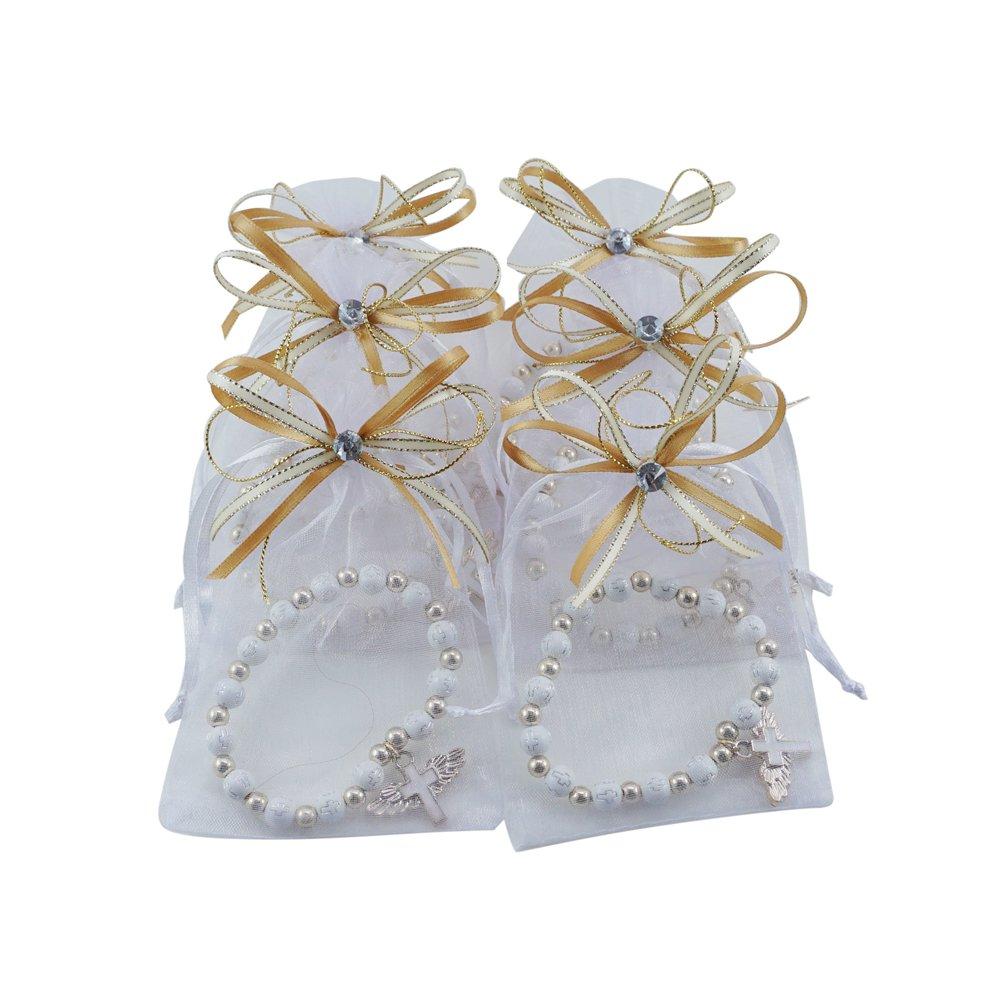 12 Pcs Angel Wing Cross Bracelet with Organza Favor Bags for Boy and Girl - Baptism Favor / Christening Favor