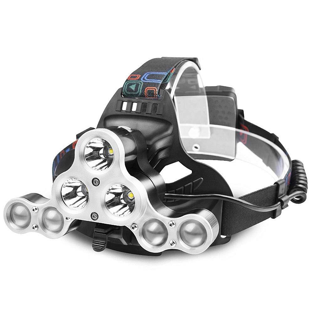 HFCheng - Linterna Frontal (7 ledes, ledes, (7 Impermeable, Ajustable, Recargable por USB, para Ciclismo al Aire Libre, Camping, Escalada, Ciclismo, Senderismo, Caza, Pesca, Nocturna) 5598ee