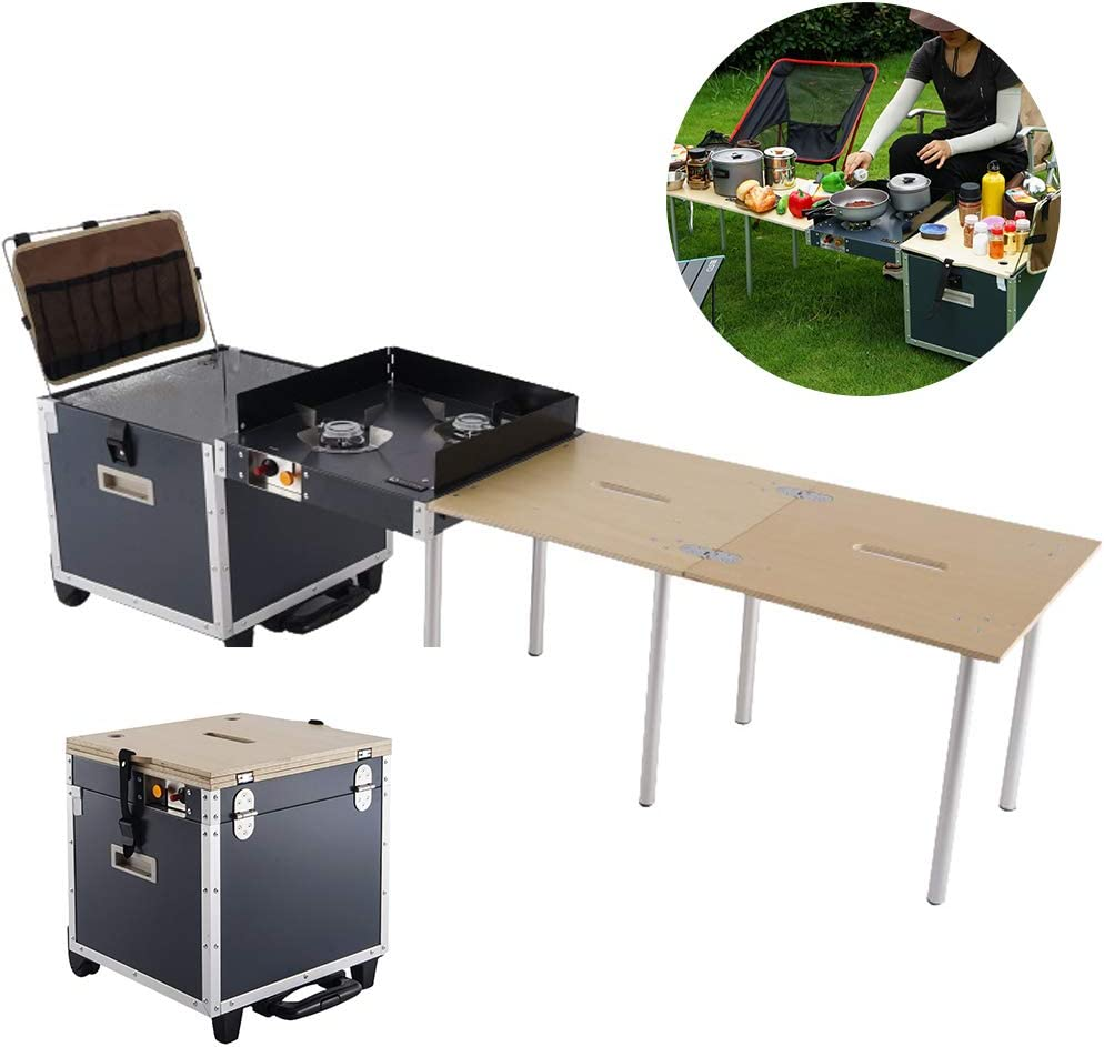 屋外キャンプ用コンロ、折りたたみ式テーブル付きアルミニウム合金モバイルキッチンポータブルストーブ、バックパッキング、キャンプ、釣り、ピクニック、バーベキュー用の完璧なキャンプストーブ