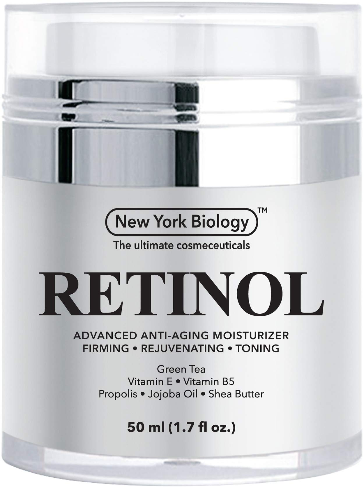 New York Biology Retinol Cream Moisturizer for Face and Eye Area - Anti Aging Infused with Vitamin A and E for Fine Lines and Wrinkles - 1.7 oz by New York Biology