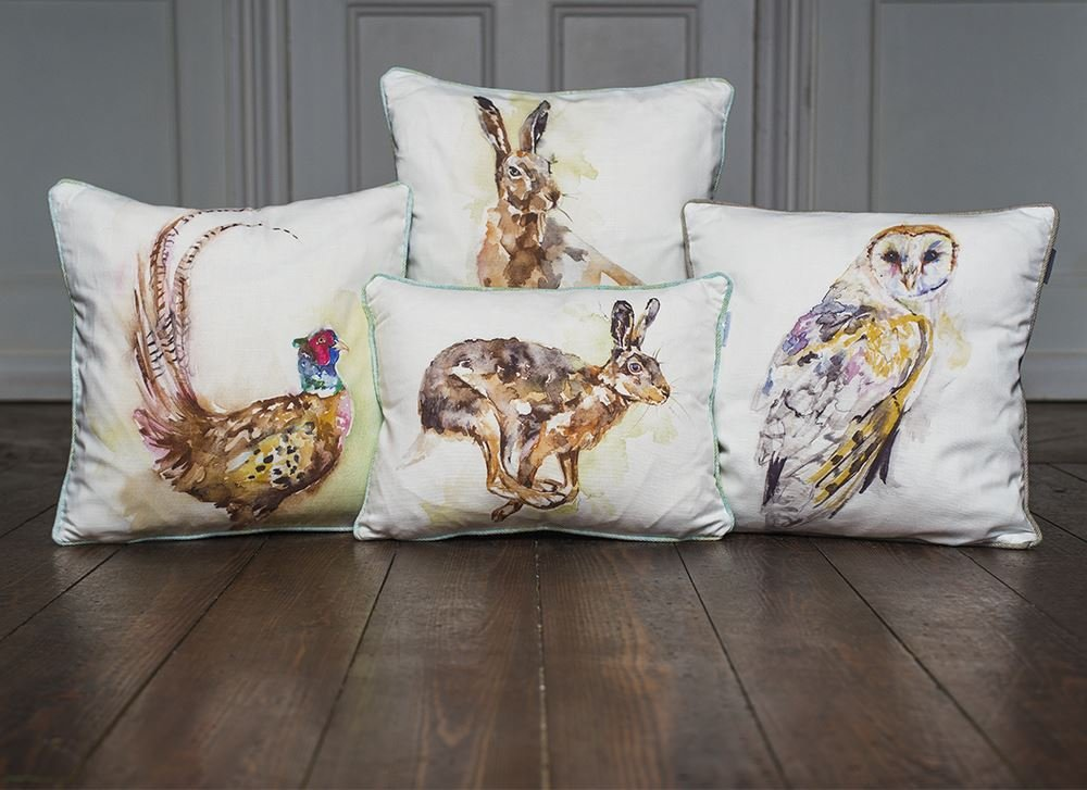 Evans Lichfield Jennifer Rose Gallery Watercolour Animals Filled Cushion in Lone Hare Design with Tartan Stirling Check