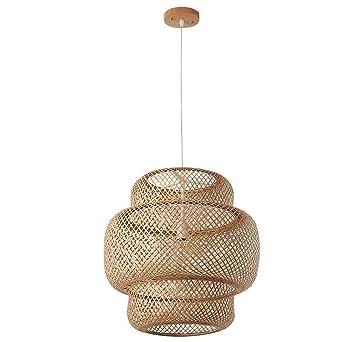 Iluminación Luz De Techo Lámpara Colgante Bambú De Mimbre ...
