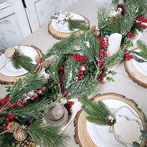 Supla 5.9 Feet Seasonal Artificial Rustic Snowy Pine Needle Red Berry Clusters Mini Pine Cones Garland Christmas Garland…
