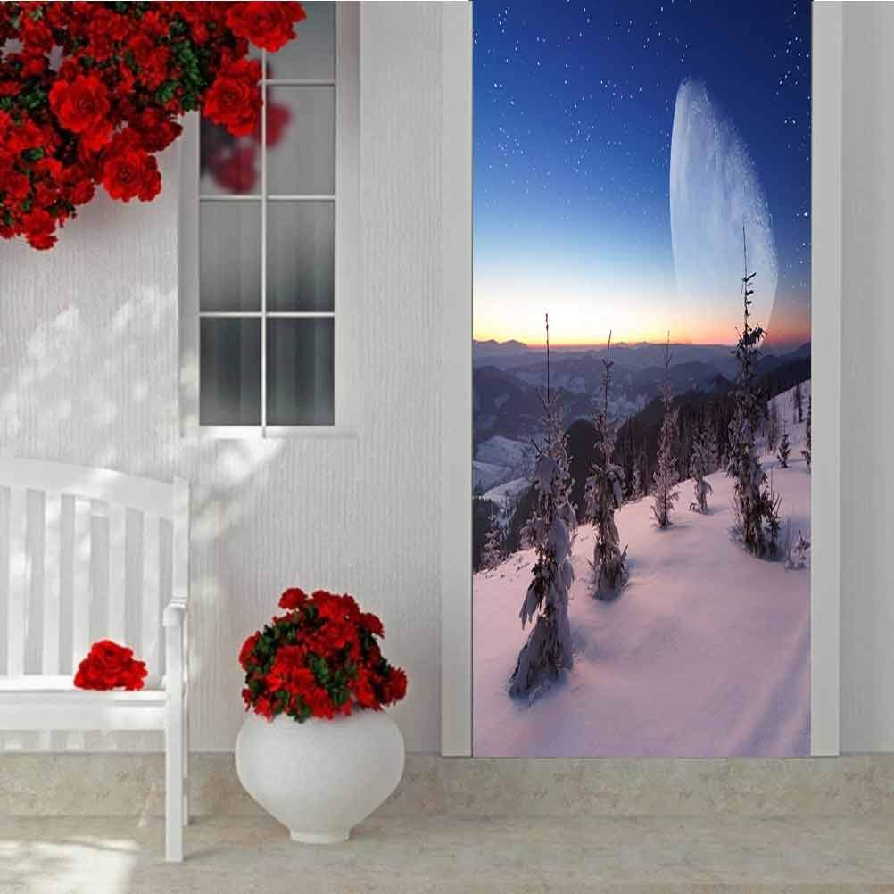 3D Door Sticker Decorative Wall Murals Wallpaper, Winter Mountains Landscape, Zuhause Decoration Self-Adhesive Removable Kunst Door Decals W35.4 X L78.7 Inch