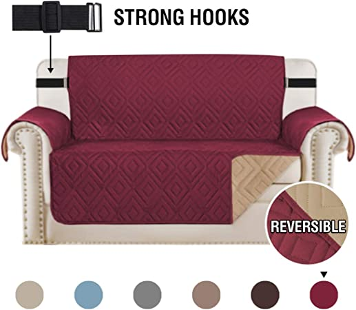 H.Versailtex Sofa Protectors Waterproof Sofa Covers 2 Seater from PetsDogs, Love Seat Covers Furniture Protector Slipcovers Quilted, Non Slip with