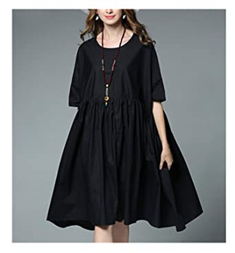 b124e7dc64d Plus Size Cotton Dress Women Summer Black White Oversized Loose Casual  Pregnant Dress at Amazon Women s Clothing store