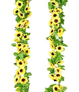 Yaoijin 2 Pack 16.4 Feet Artificial Fake Sunflower Garland Plants in Yellow(Each 8.2' Long with 12 Vine) for Hanging Wedding Garland Fake Foliage Flowers Home Kitchen Garden Office Wedding Wall Decor