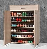 Armoire meuble à chaussures chêne sonoma avec 2 portes et 1 tiroir, L 89 x H 120 x P 37 cm -PEGANE-