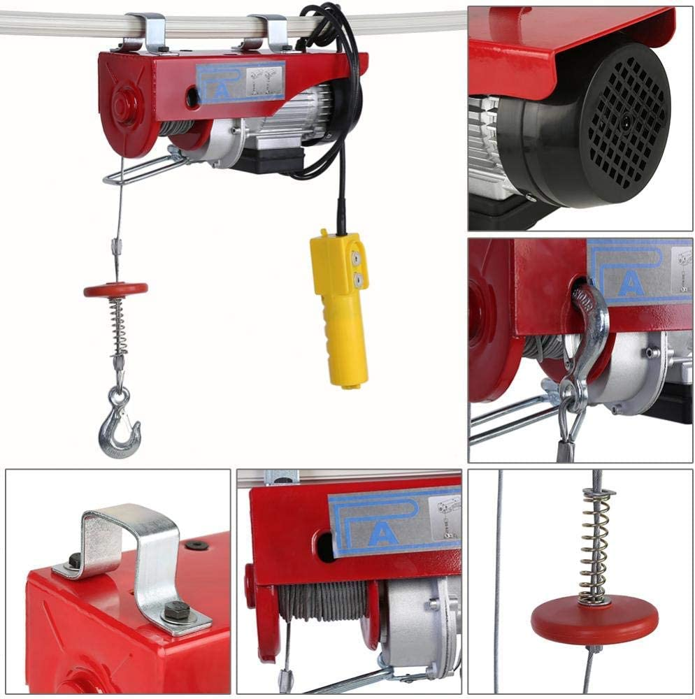220lbs//440lbsCrane Remote Control Power System Steel Wire Overhead Crane Garage Ceiling Pulley Winch Electric Hoist Winch AC Lift Electric Hoist