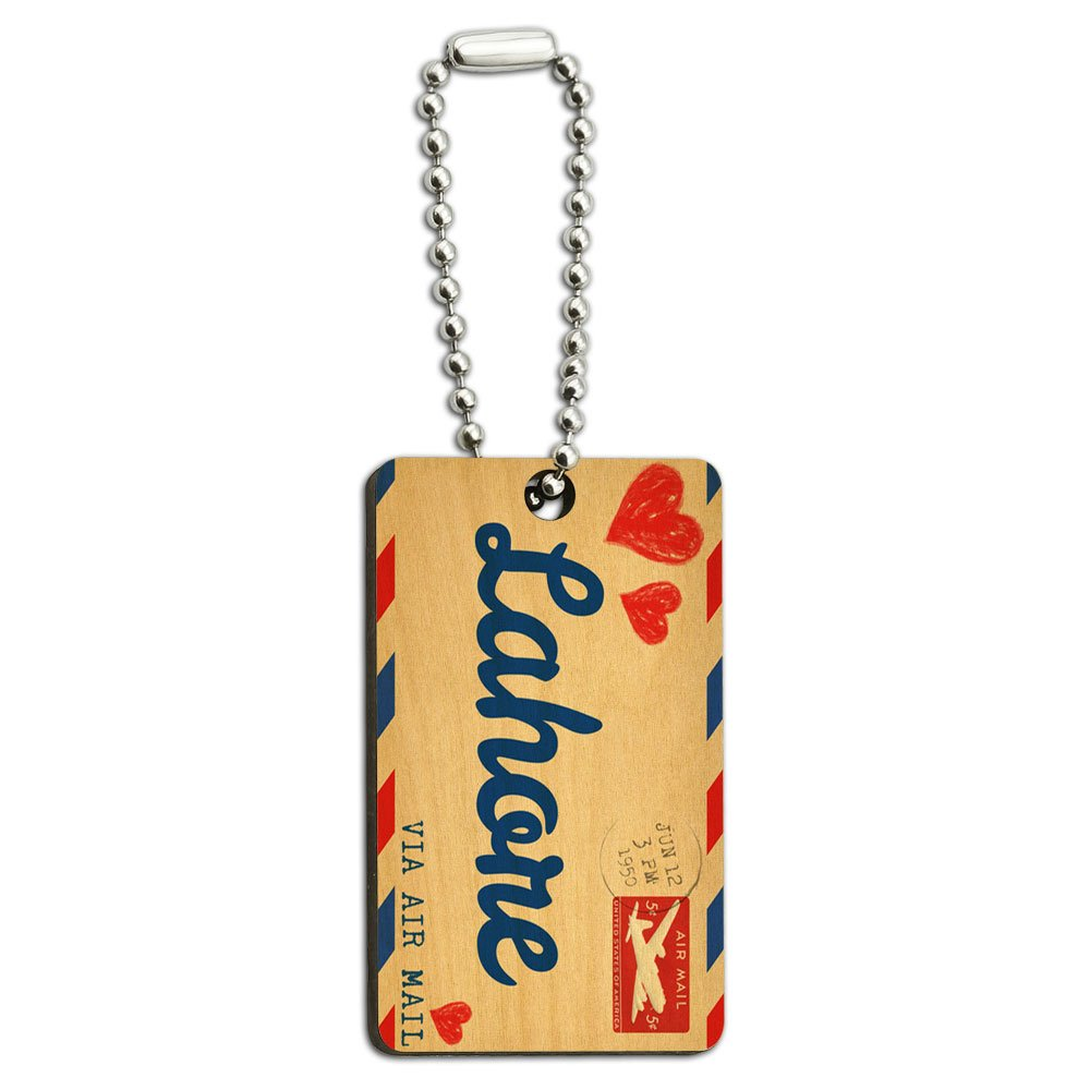 Air Mail Postcard Love for Lahore Wood Wooden Rectangle Key Chain