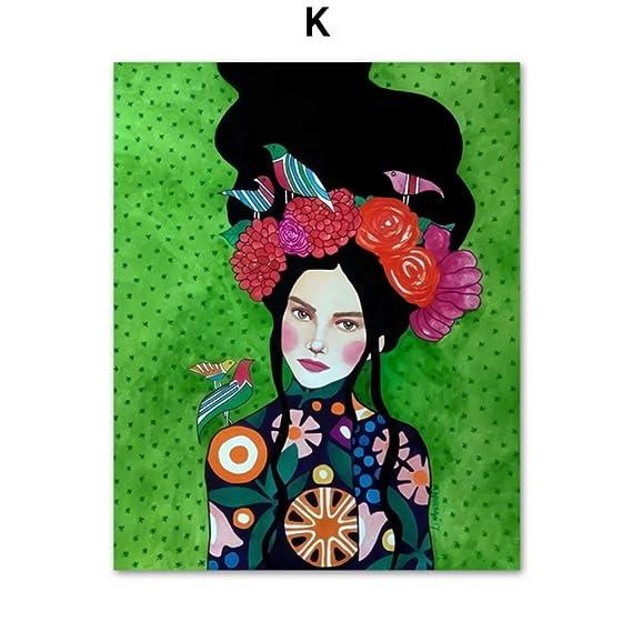 Moderno pintura al óleo moda Vintage mujer maquillaje ...