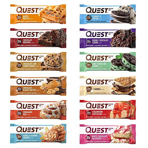 Quest Nutrition Protein Bar, Best Seller Variety Pack, High Protein, Low Carb, Gluten Free, Soy Free, Keto Friendly, 12 Count ()