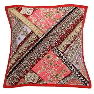 """Decorative Pillow Case Handmade Beaded Red Patchwork Cushion Cover India Gift Art 17"""" Inches"""
