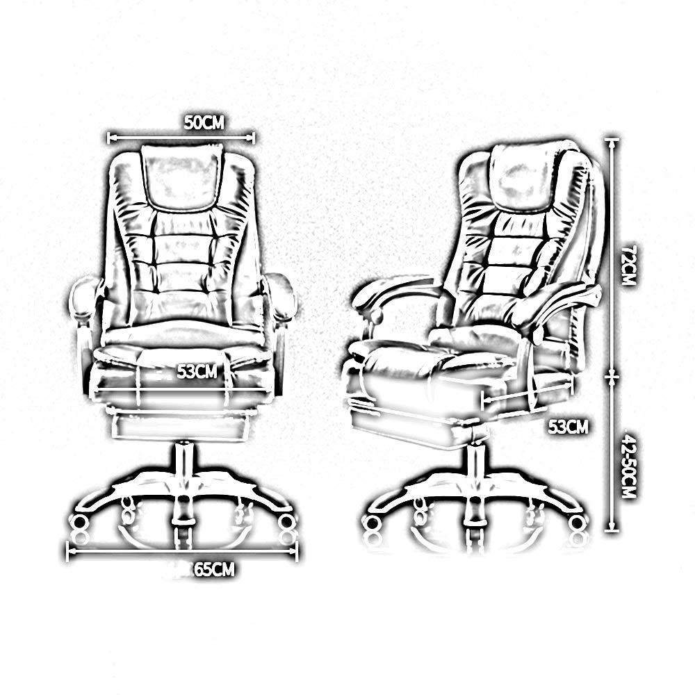 Bekväm kontorsstol, vilande med fotstöd hög rygg PU-läder verkställande dator skrivbord stol komfort och ergonomisk design Brun
