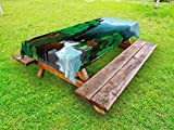 Lunarable Cabin Outdoor Tablecloth, Evening in The Beautiful Mountains Forest Woods with Animals Cold River Illustration, Decorative Washable Picnic Table Cloth, 58 X 120 inches, Multicolor