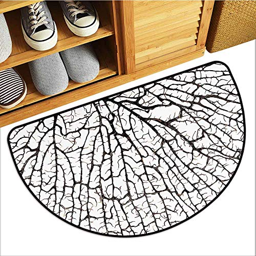 TableCovers&Home Front Door Mat Carpet, Old Forest Doormats for High Traffic Areas, Cracked Curly Coral Branch Like Earth Surface Tree of Life Nature Woodland Theme (Beige, H20 x D32 Semicircle)