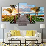 [LARGE] Premium Quality Canvas Printed Wall Art Poster 5 Pieces / 5 Pannel Wall Decor Boardwalk to Paradise Painting, Home Decor Pictures - With Wooden Frame