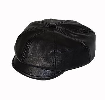 dc7a4680a961 KGM Accessories Casquette Plate en Simili Cuir pour Enfant Noir ...