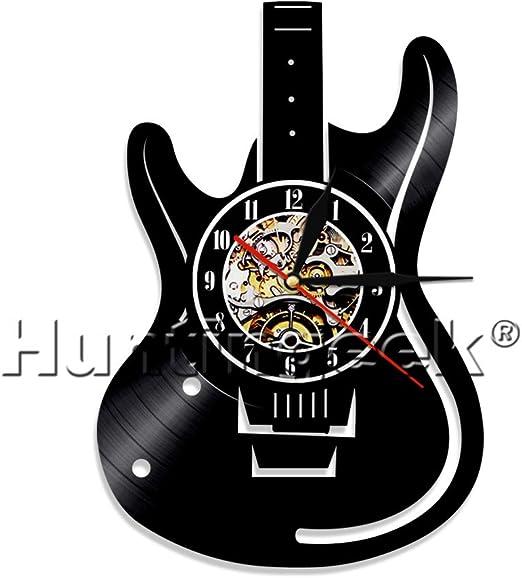 Reloj de pared guitarra eléctrica guitarra vintage disco de vinilo ...