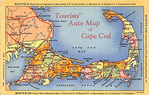 Tourist Auto Map Cape Cod Massachusetts Postcard at Amazon\'s ...