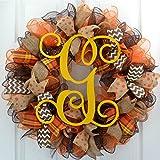 Fall Mesh Wreath | Brown Yellow Burlap Thanksgiving Monogram Letter Initial Mesh Door Wreath : F3